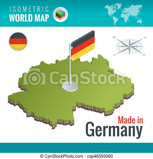 Isometric map and flag of the germany or deutschland. federal ...