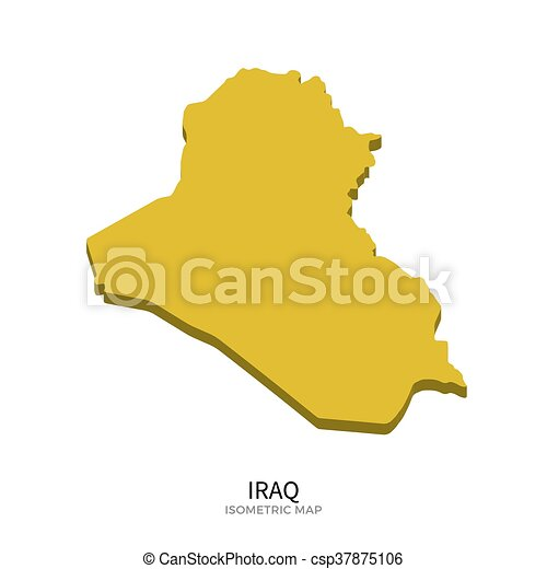 Isometric map of iraq detailed vector illustration isolated