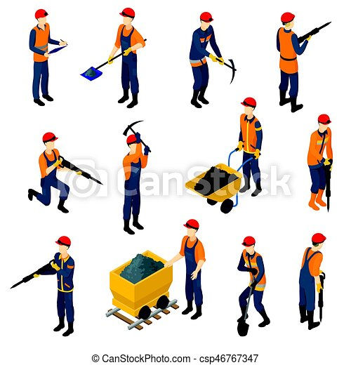 Isometric Miners Set Isometric Miners Set With Workers In