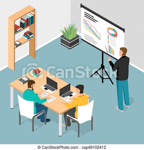 Isometric office. Concept of business meeting, exchange ideas and experience, coworking people, collaboration and discussion, vector illustration - csp49102412