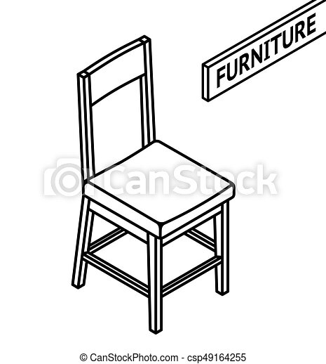 isometric outline furniture 3d line drawn isometric chair white