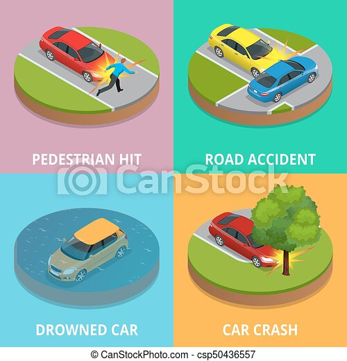 isometric pedestrian hit, road accident, drowned car and car crash concept   car crash template vector flat style  used for workflow layout, game,  diagram,