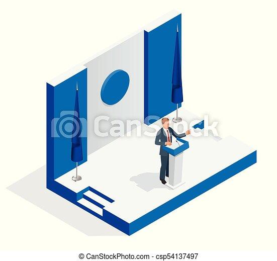 isometric, pessoas negócio, isolado, ilustração, público, gerente, vetorial, fala, falando, branca, tribuna, tribune., apresentação, microphone., orador, fazer - csp54137497