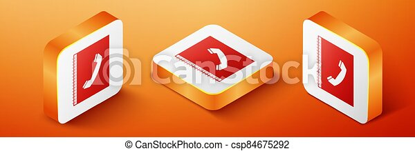 Isometric Phone book icon isolated on orange background. Address book. Telephone directory. Orange square button. Vector - csp84675292