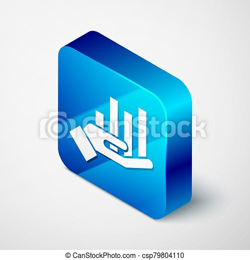 Isometric Pie chart infographic icon isolated on grey background. Diagram chart sign. Blue square button. Vector Illustration - csp79804110