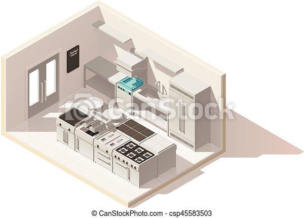 isometric, poly, wektor, niski, profesjonalny, kuchnia - csp45583503