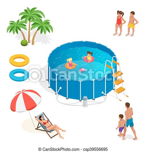 Isometric Portable Plastic Swimming Pool And People
