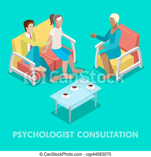 Isometric Psychologist Consultation. Couple on Psychotherapy. Vector 3d flat illustration - csp44583070