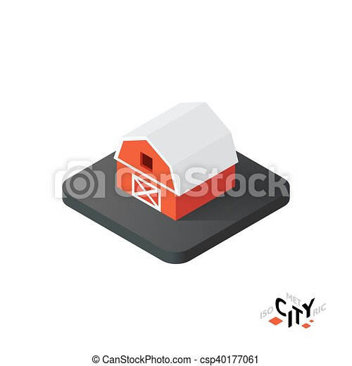 Isometric red barn icon, building city infographic element, vector illustration - csp40177061