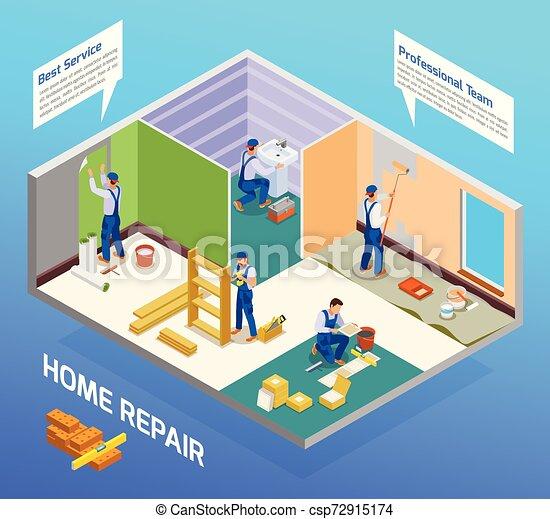 isometric, repairman, zenemű, kézműves - csp72915174