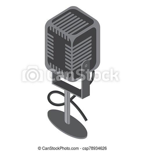 Isometric Retro Microphone Icon Isolated on White Background - csp78934626