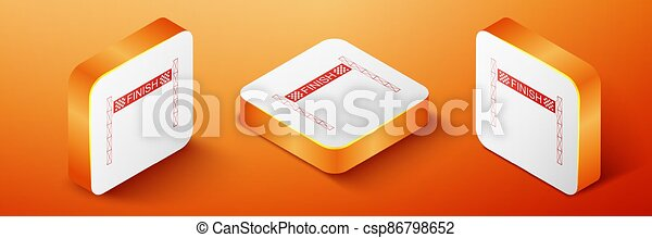 Isometric Ribbon in finishing line icon isolated on orange background. Symbol of finish line. Sport symbol or business concept. Orange square button. Vector - csp86798652