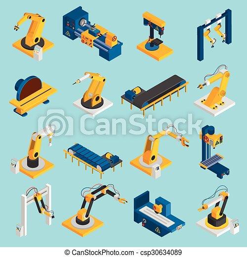 isometric, robô, maquinaria - csp30634089