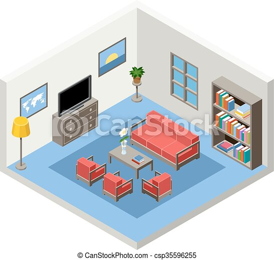 isometric room with furniture - csp35596255