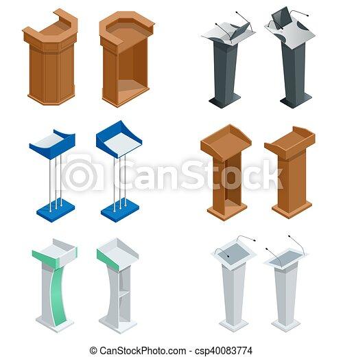 Isometric rostrum, podium, tribune with microphones. Vector - csp40083774