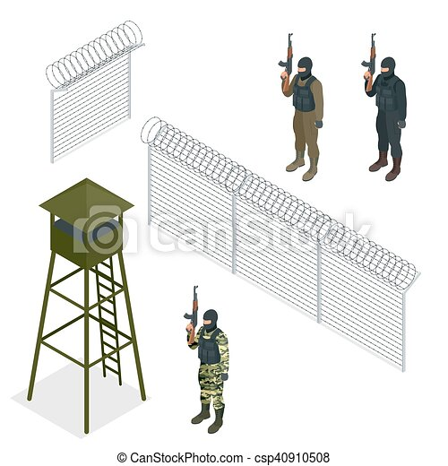 Isometric security with a barbed wire fence. soldier, officer ...