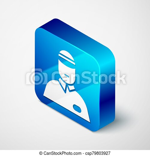 Isometric Seller icon isolated on grey background. Blue square button. Vector Illustration - csp79803927