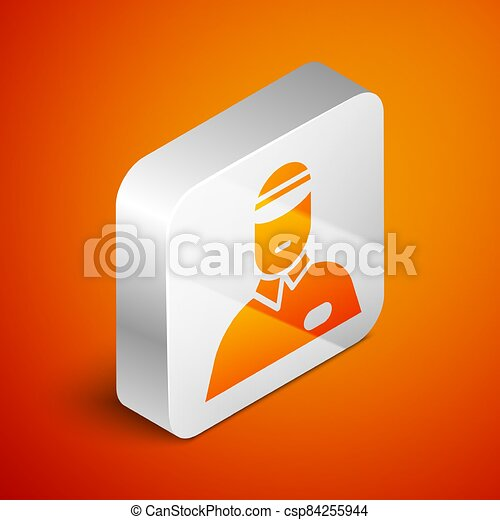 Isometric Seller icon isolated on orange background. Silver square button. Vector Illustration - csp84255944
