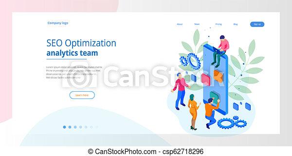 Isometric Seo Optimization and Analytics Team Modern Landing page design  concept
