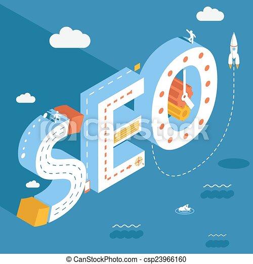Isometric SEO, success internet searching optimization process illustration - csp23966160