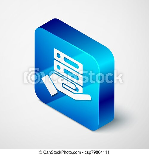 Isometric Server, Data, Web Hosting icon isolated on grey background. Blue square button. Vector Illustration - csp79804111
