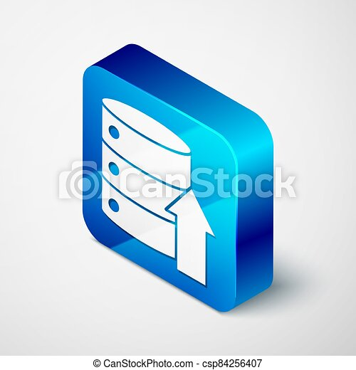 Isometric Server, Data, Web Hosting icon isolated on grey background. Blue square button. Vector Illustration - csp84256407