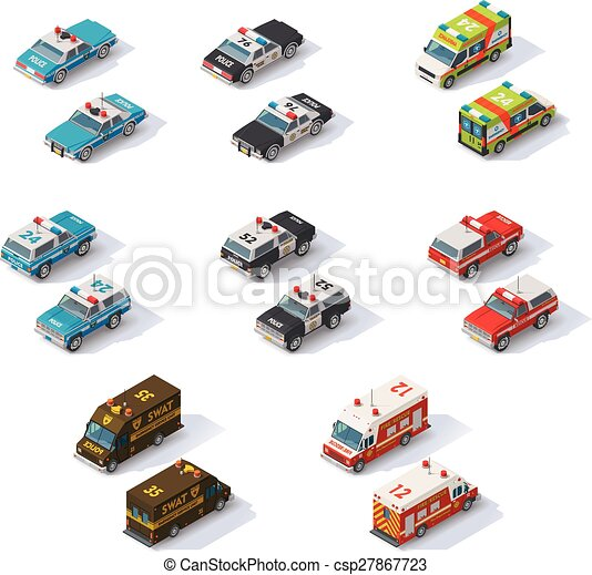 isometric, set, noodgeval, auto's, vector, diensten - csp27867723