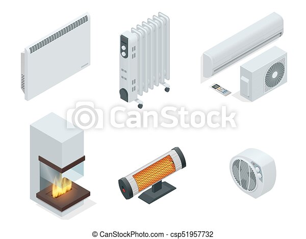 Isometric set of electric radiator or electric heaters. - csp51957732