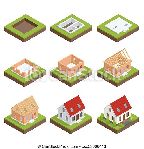 Isometric set stage-by-stage construction of a brick house. House building process. Foundation pouring, construction of walls, roof installation and landscape design vector illustration. - csp53006413