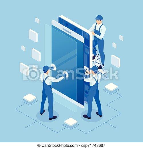 Isometric smartphone repair and service banner template. Repairing electronics. Men in the uniform of a telephone repair service - csp71743687