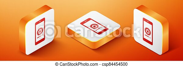 Isometric Smartphone update process with gearbox progress and loading bar icon isolated on orange background. System software update and upgrade concept. Orange square button. Vector - csp84454500
