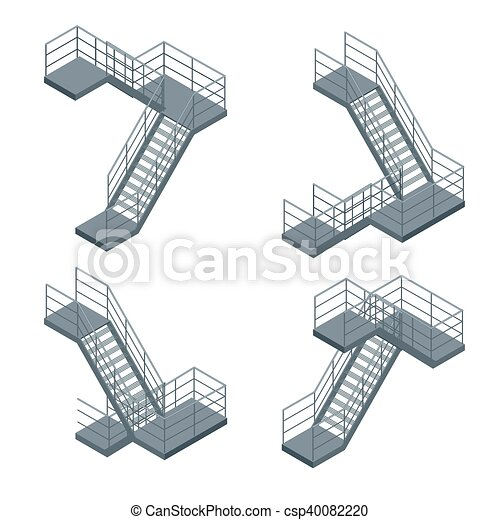 Isometric Staircase Vector Set Of Various Metallic Staircase On The
