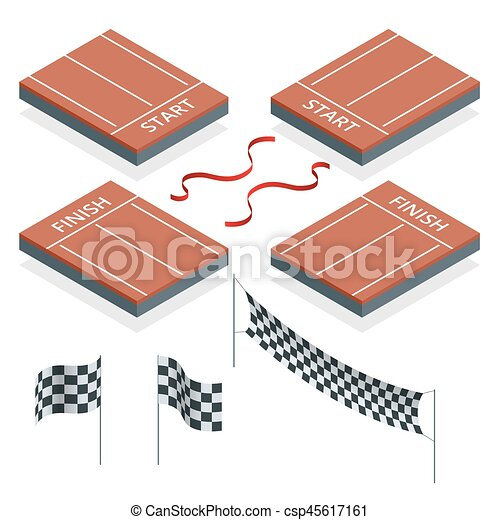 Isometric Start and Finish, Checkered flags, vector illustration - csp45617161