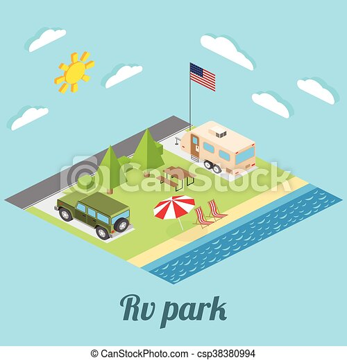 Isometric summer RV camping on cost of Pacific ocean  Isometric vector  illustration of car and travel trailers  Summer trip family travel concept