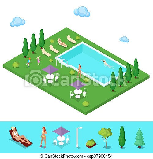Isometric Swimming Pool Summer People Near The Outside Vector Illustration