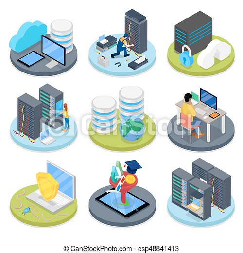 Isometric system administrator server room data storage isometric system administrator server room data storage vector flat 3d illustration ccuart Choice Image