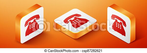 Isometric Telephone icon isolated on orange background. Landline phone. Orange square button. Vector - csp87282621