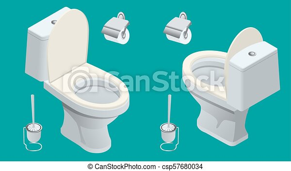 Isometric Toilet equipment collection for interior design. Set of different toilet sinks types. Vector illustration - csp57680034
