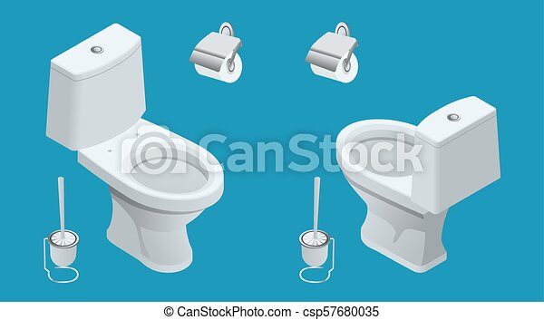 Isometric Toilet equipment collection for interior design. Set of different toilet sinks types. Vector illustration - csp57680035