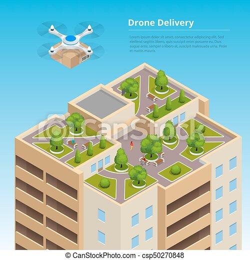 isometric, towary, city., concept., techniczny, mocna dostawa, truteń, wysyłka, innowacja, autonomiczny, logistics. - csp50270848