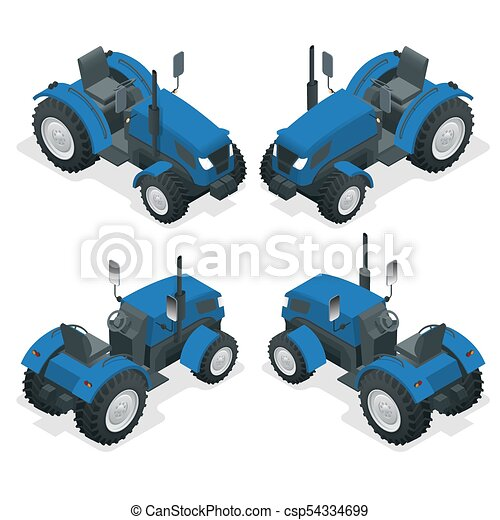 Isometric Tractor works in a field. Agriculture machinery. Plowing in the field. Heavy agricultural machinery for fieldwork. Vector illustration. - csp54334699