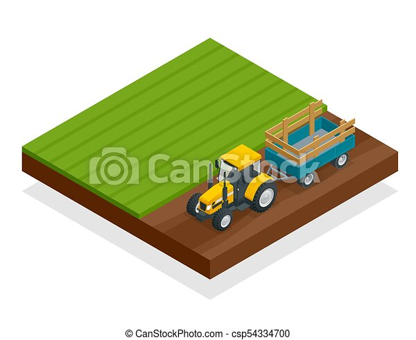 Isometric Tractor works in a field. Agriculture machinery. Plowing in the field. Heavy agricultural machinery for fieldwork. Vector illustration. - csp54334700
