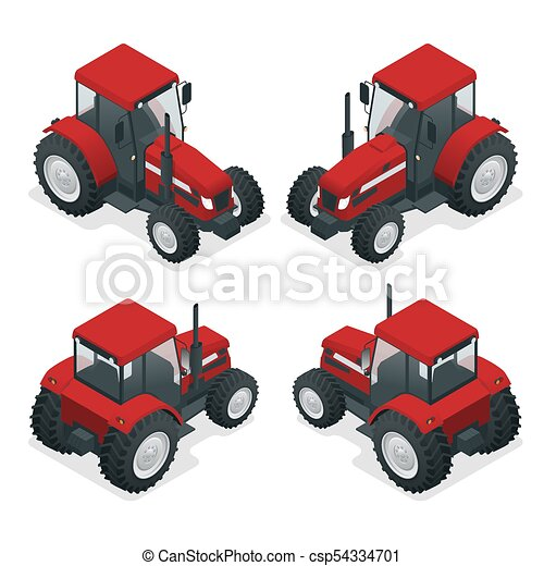 Isometric Tractor works in a field. Agriculture machinery. Plowing in the field. Heavy agricultural machinery for fieldwork. Vector illustration. - csp54334701