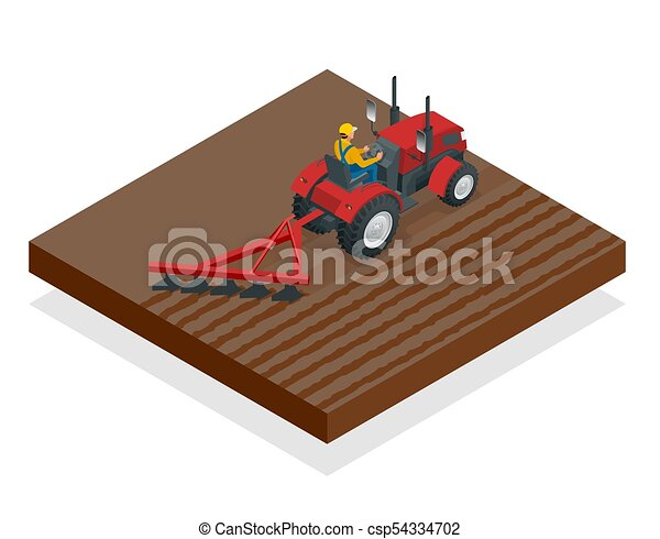 Isometric Tractor works in a field. Agriculture machinery. Plowing in the field. Heavy agricultural machinery for fieldwork. Vector illustration. - csp54334702