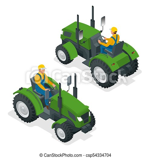 Isometric Tractor works in a field. Agriculture machinery. Plowing in the field. Heavy agricultural machinery for fieldwork. Vector illustration. - csp54334704