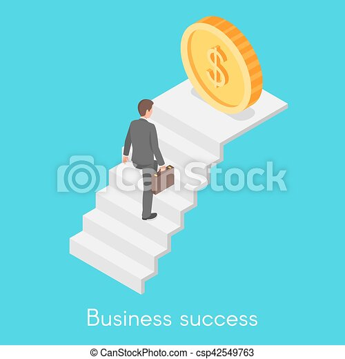 Isometric vector concept of businessman climbing the career ladder. - csp42549763