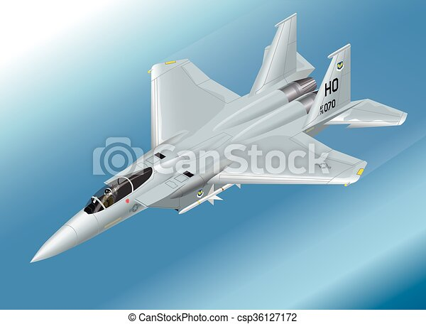 Isometric Vector Illustration of an F-15 Jet Fighter Airborne - csp36127172