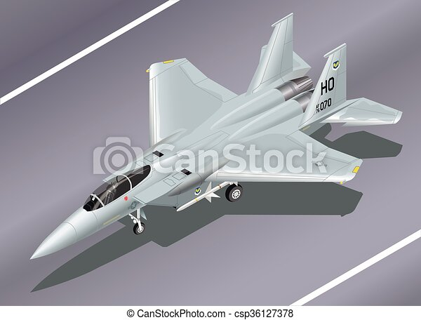 Isometric Vector Illustration of an F-15 Jet Fighter Parked - csp36127378