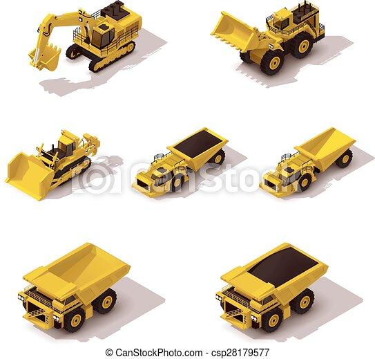 isometric, vetorial, jogo, mineração, maquinaria - csp28179577
