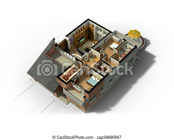 Isometric View Of A Furnished House 3d Rendering Of A Furnished